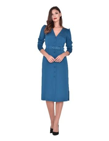 Vestido azul con botonadura con cinturon