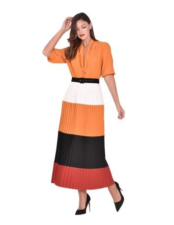 Vestido con manga francesa y falda plisada nuribel - 1