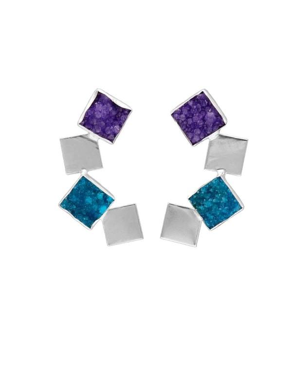 Pendientes largos geometricos en tonos azul y plata