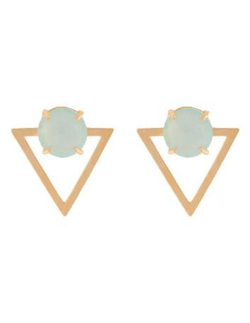 Golden triangle earrings with natural aquamarine stone lavani wedding