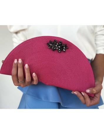 Oval raffia handbag with bluestone detail at INVITADISIMA by D'Nue For Ladies