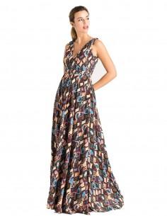 Long chiffon party dress with snake print