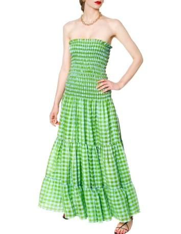 Vestido maxi palabra de honor fruncido en vichy verde