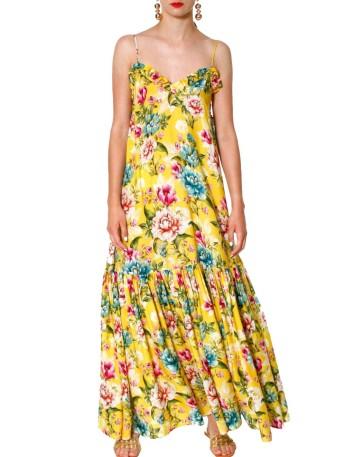 Vestido maxi largo floral con volante en el escote