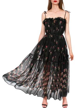 Vestido midi negro estampado floral