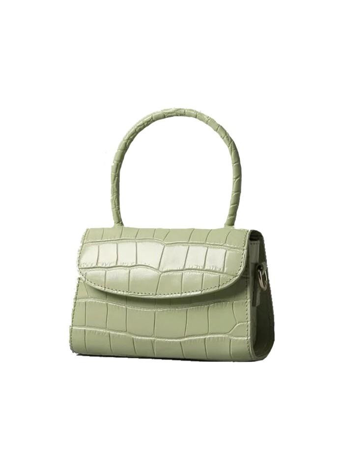 Green mini leather handbag