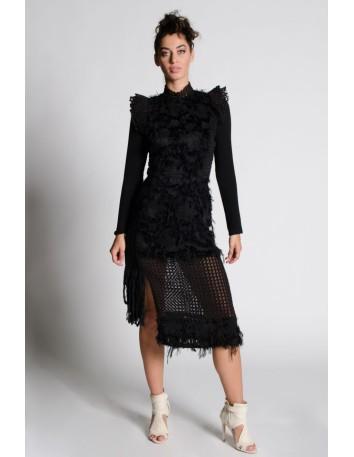 Vestido midi negro de flecos y hombreras LAHIVE - 1