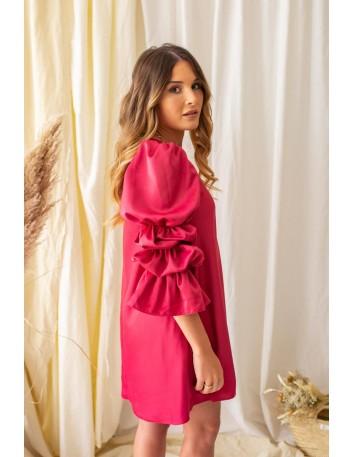 Vestido corto rojo con mangas XL fruncidas