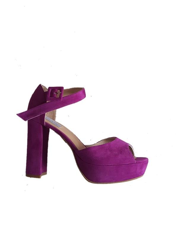 Suede double platform bougainvillaea shoes at INVITADISIMA