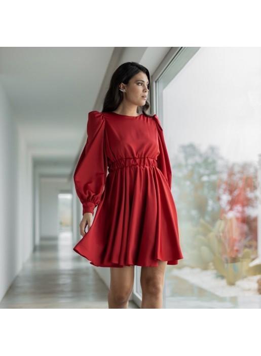 Vestido de fiesta rojo evasé con manga larga Mauî Official - 1