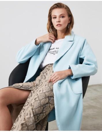 Sky blue midi wool coat Lauren Lynn London - 1