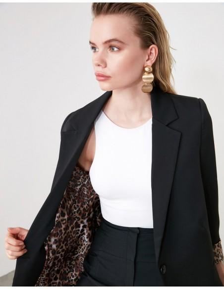 Black jacket with leopard print cuffs from Lauren Lynn London