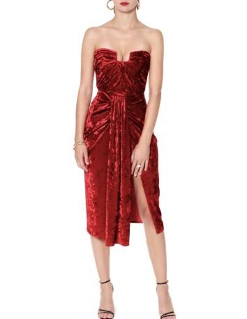 Vestido de fiesta palabra de honor de terciopelo rojo