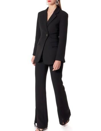 Pantalón largo negro campana con abertura
