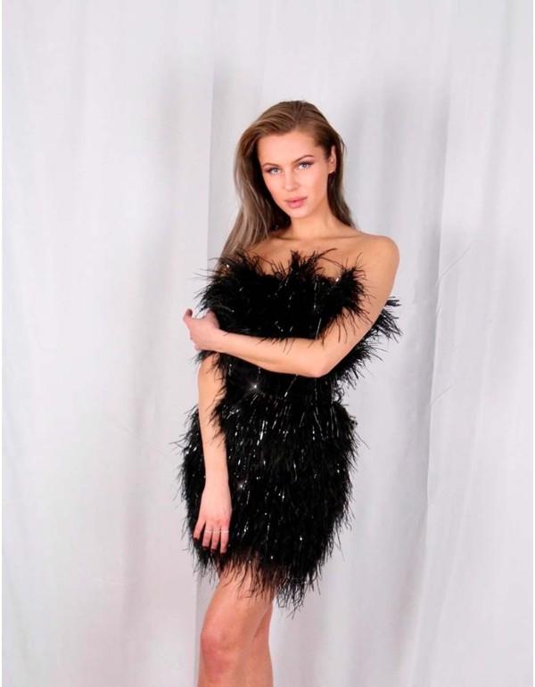 Mini vestido de fiesta negro con plumas de Angus Kirkby