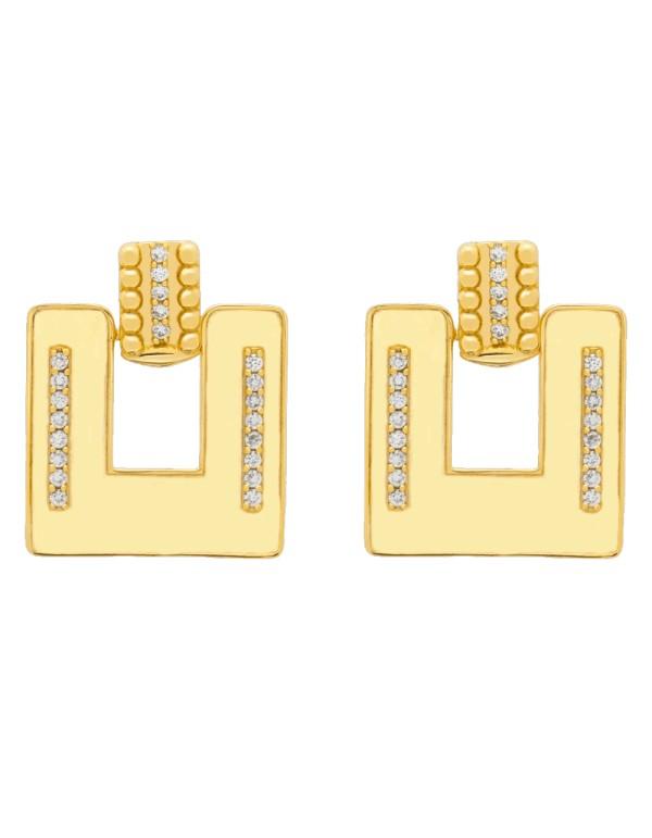 Pendientes de fiesta cuadrados con circonitas - Chiara -1