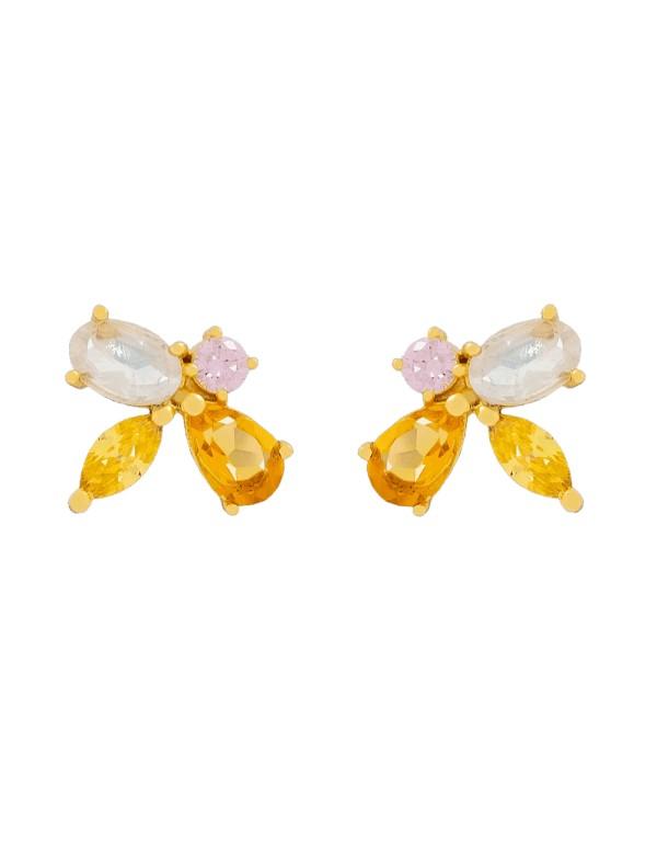Pendientes con forma de abeja - naranjas - piedras naturales- 1