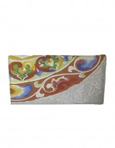 Bolso de mano para fiesta de seda bordada en tonos multicolor y plata  - 1