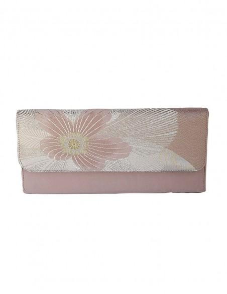 Bolso de mano para fiesta de seda bordada en tonos rosas y plata  - 1