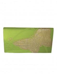 Bolso de mano para fiesta de seda bordada en tonos verdes y dorados  - 1
