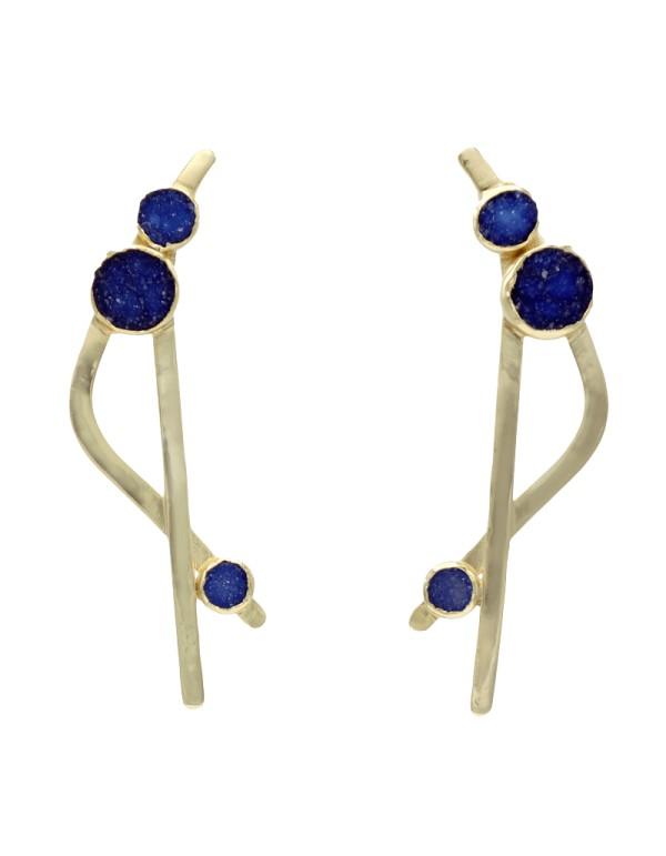 Pendientes cruzados con piedras drusas en tonos azules - Callao Acus complementos - 1
