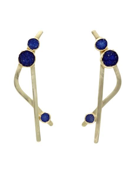 Pendientes cruzados con piedras drusas en tonos azules para invitadas