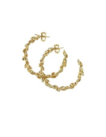 Aros dorados en oro champán en forma de corona de laurel COOLOOK - 1