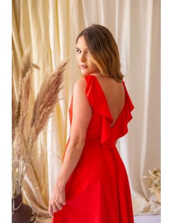 Vestido rojo midi con espalda escotada - Maui 3