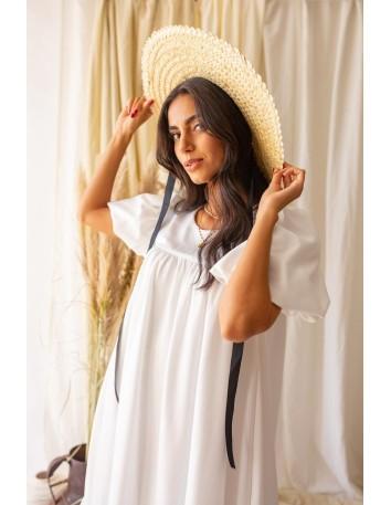 Vestido midi blanco con manga abullonada Mauî Official - 2