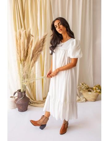 Vestido midi blanco con manga abullonada Mauî Official - 1