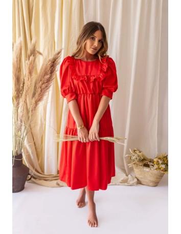 Vestido largo rojo de cuello bebé con manga abullonada Mauî Official - 1