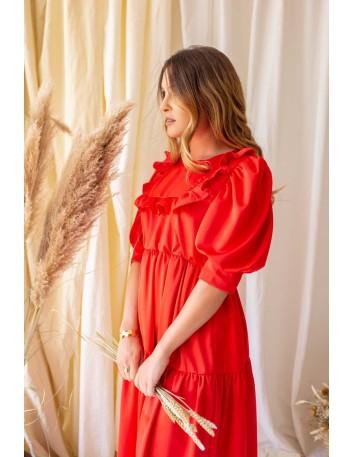 Vestido largo rojo de cuello bebé con manga abullonada Mauî Official - 3