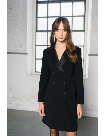 Black blazer cocktail dress with V neckline Elsa Barreto - 1