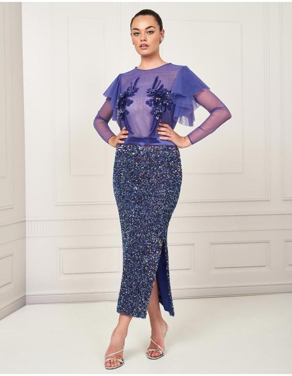 Conjunto top y falda de pedrería - nuribel couture