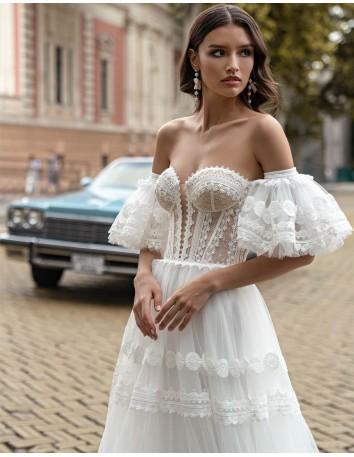 Vestido de novia de estilo Boho con escote palabra de honor