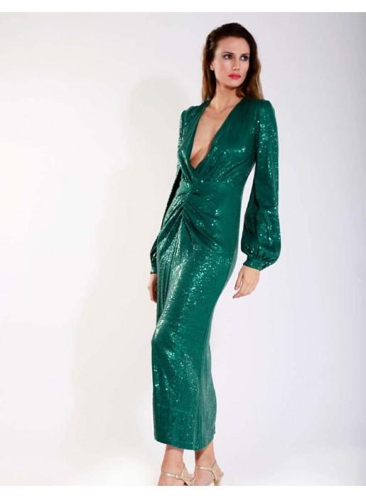 Vestido de largo midi y escote con lentejuelas verde esmeralda