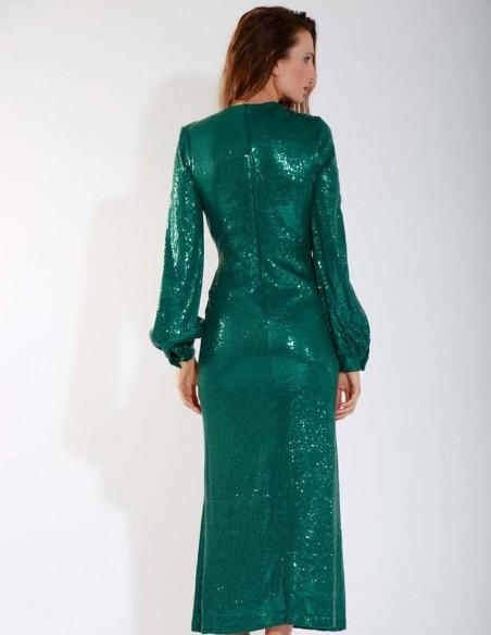 Vestido de largo midi y escote con lentejuelas verde esmeralda de Mordisco de Mujer