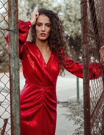 Vestido largo con escote en V rojo con lentejuelas Mordisco de Mujer - 2