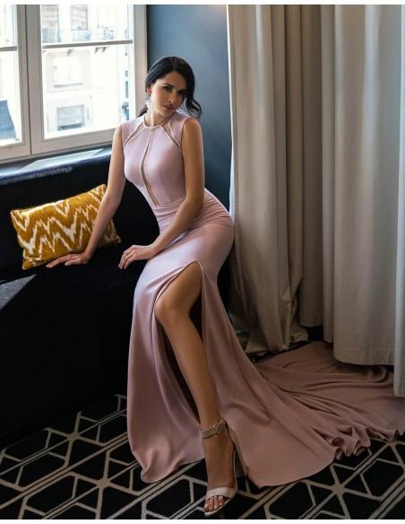 Vestido de fiesta largo con pedrería y transparencias-2