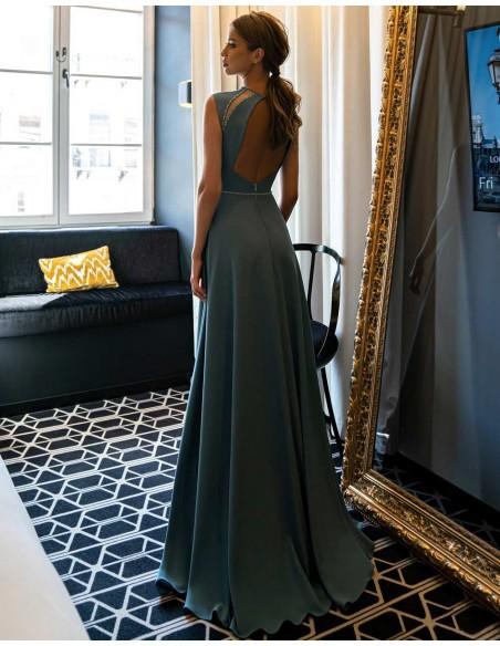 Vestido de fiesta largo con pedrería y transparencias-5