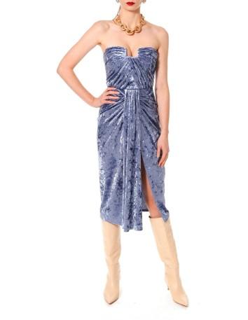 Vestido de fiesta azul de terciopelo drapeado y corsé rectangular