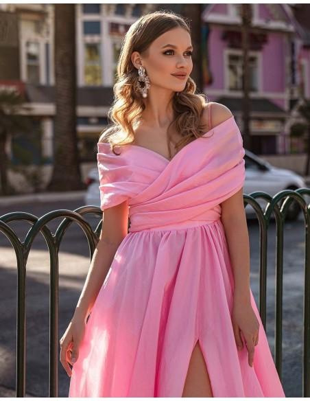 Vestido de fiesta largo con escote bandeau y cola-2