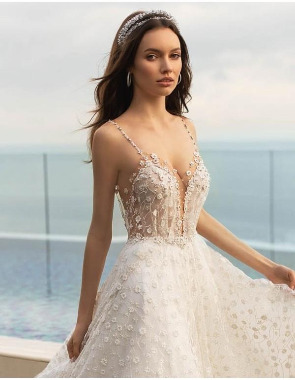 Diadema doble de pedrería para novia