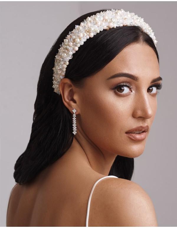 Diadema gruesa plana con perlas y cristales para novia o invitada