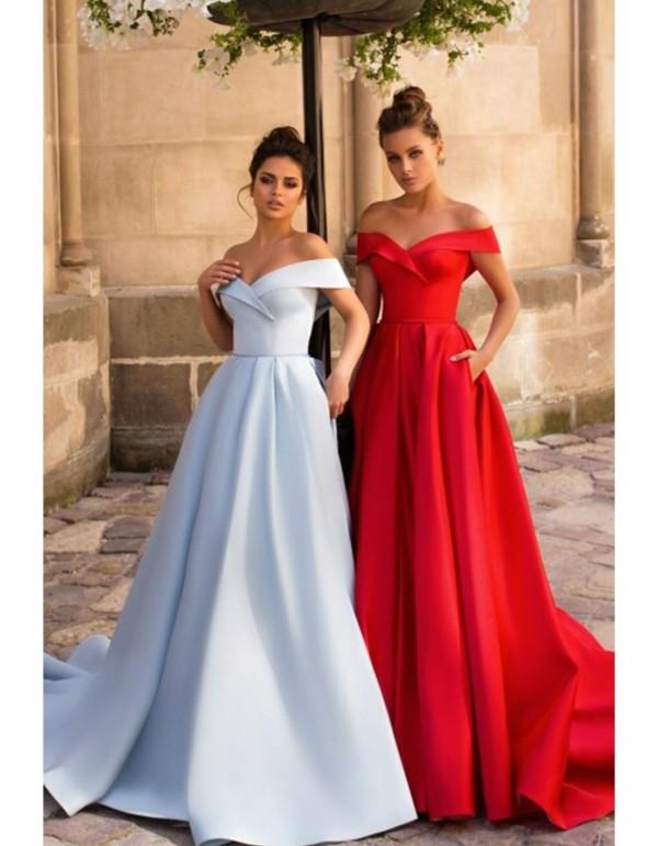 Long dress with princess cut and bardot neckline from POLLARDI at INVITADISIMA