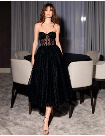 Maxi plumeti strapless cocktail dress