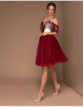 Vestido de fiesta corto con falda de tul y flecos de lentejuelas-1