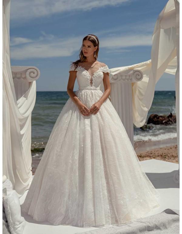 Vestido de novia de corte princesa con escote barco y manga larga con espalda transparente Jeorjett Fashion Group - 1