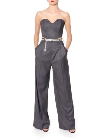 Pinstripe corset in dark gray with sweetheart neckline by AGGI at INVITADISIMA