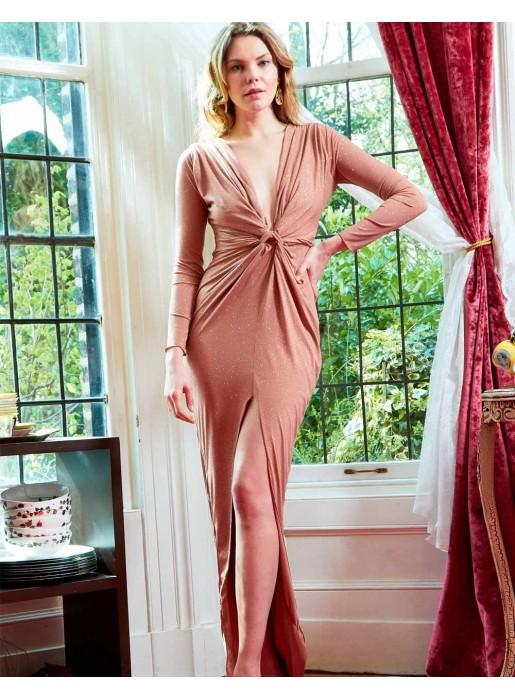 Evening dress with plunging V-neckline and slit Sarvin - 1